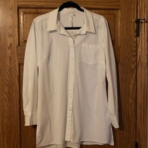 NY Collection long white blouse